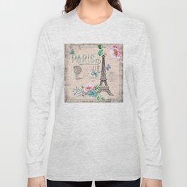 Paris - my love - France Nostalgy - pink French Vintage Long Sleeve T-shirt