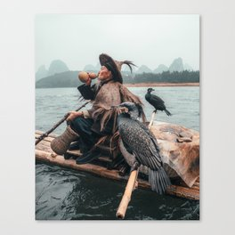 Yangshuo fisherman with his cormorants Canvas Print
