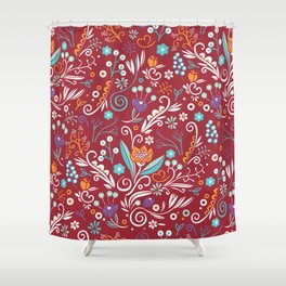 Flower circle pattern, red Shower Curtain
