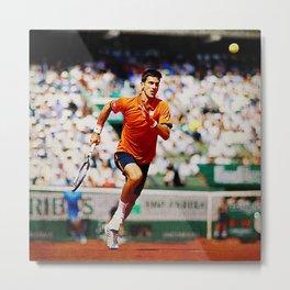 Novak Djokovic Tennis Chasing a Lob Metal Print
