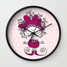 Doodle Doll with Curls on Pink Background Wall Clock