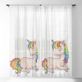 Sleeping Rainbow Unicorn Sheer Curtain