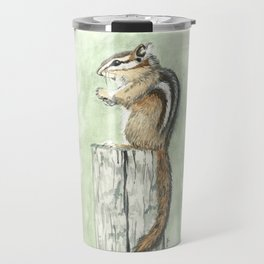 Chipmunk on a Fence Post - Watercolor Travel Mug