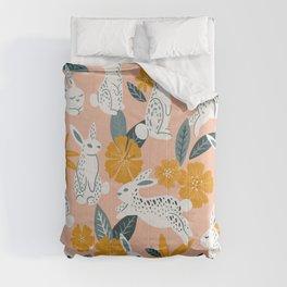 Bunnies & Blooms – Teal & Blush Comforters