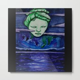 The Moon Oracle Tarot Starry Night Sky on the Lake Watercolor Painting Metal Print