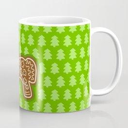 Gingerbread Unicorn on Green Background Coffee Mug