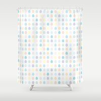 polkadot Shower Curtains featuring Mini Pastel Polkadot by chelsea dawn brown