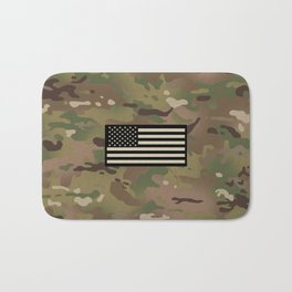 U.S. Flag: Woodland Camouflage Bath Mat