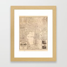 Vintage Map of Lake Tahoe Calfornia (1874) Framed Art Print