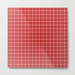 Persian red - red color - White Lines Grid Pattern Metal Print