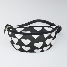 Hearts White on Black Fanny Pack