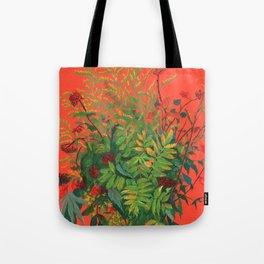 Autumn Floral on Orange Tote Bag