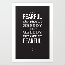 Buffett | Be Fearful When Others Are Greedy | Black Art Print