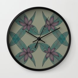 LINED FLORAL Wall Clock