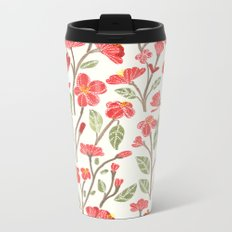 Red Botanical Pattern Metal Travel Mug