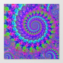 Funky Blue Fractal Pattern Canvas Print