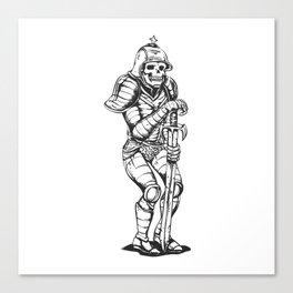 knight skeleton - warrior illustration - skull black and white Canvas Print