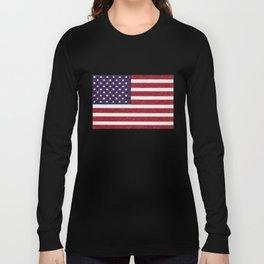 USA flag - in Crayon Long Sleeve T-shirt