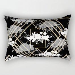 Geometrical faux gold black white floral pattern Rectangular Pillow