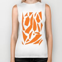 orange pattern Biker Tanks featuring Orange by osile ignacio