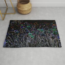 MODERN ABSTRACT TULIPS GLOWING PENCIL DRAWING Rug