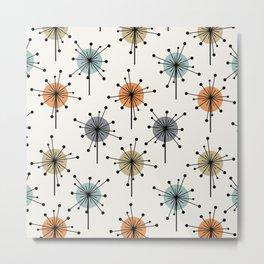 Midcentury Sputnik Starburst Flowers Colorful Metal Print