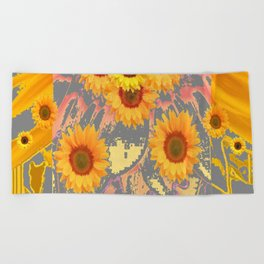 MODERN ART YELLOW SUNFLOWERS  GREY ABSTRACT Beach Towel