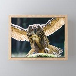 Eagle-owl landing on a stump Framed Mini Art Print
