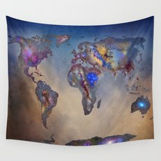 Stars world map. Blue. World map Wall Tapestry