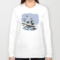 hobbes Long Sleeve T-shirts featuring Jon and Hobbes beyond the wall by BovaArt