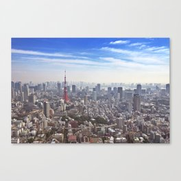 Skyline of Tokyo, Japan with the Tokyo Tower, from above Canvas Print