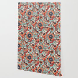 Colorful Vintage Floral Pattern Wallpaper
