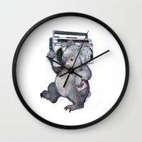 koala Wall Clocks featuring koala  by Laura Graves