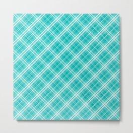 Aqua Blue & White Diagonal Plaid Scottish Clan Metal Print