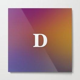 Monogram Letter D Initial Orange & Yellow Vaporwave Metal Print