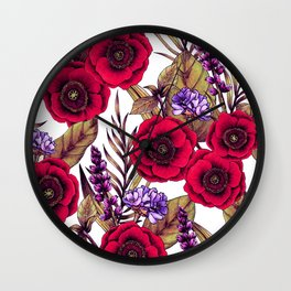 Red Poppies & Purple Flowers - Floral/Botanical Print Wall Clock