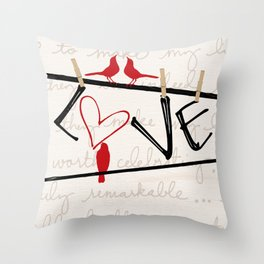 Love Letters Red Bird Clothesline A713 Throw Pillow