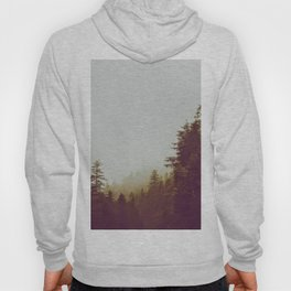 Olive Green Sepia Misty Pine Forest Landscape Photography Parallax Trees Hoody