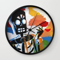 grim fandango Wall Clocks featuring Your Travel Agent - Grim Fandango by wildstar25