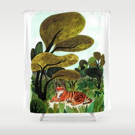 The tiger's nap Shower Curtain