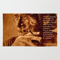bukowski Area & Throw Rugs featuring Charles Bukowski - quote - sepia by ARTito