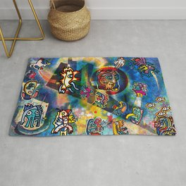 Kandinsky with Cool Monsters Street Art Rug