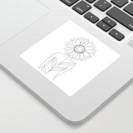 Minimalistic Line Art of Woman with Sunflower Sticker
