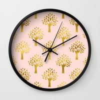 gold foil Wall Clocks featuring Pink Gold Foil 02 by Aloke Design