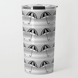 Cute Black White Umbrella Pattern Travel Mug