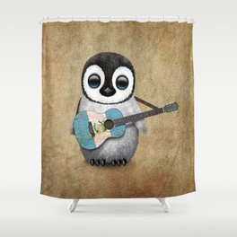 Baby Penguin Playing Guatemalan Flag Acoustic Guitar Shower Curtain