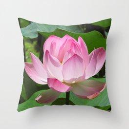 Pink Lotus Bloom Throw Pillow