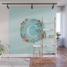 Personalized Monogram Initial Letter C Blue Watercolor Flower Wreath Artwork Wall Mural