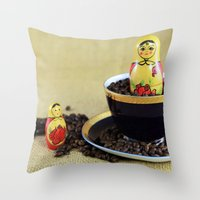 russian Throw Pillows featuring Russian Coffee by Falko Follert Art-FF77
