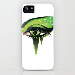 Green vampire eye makeup iPhone Case